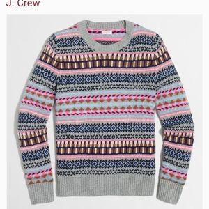 J Crew Fair Isle Gray Pink Neon Crewneck Sweater